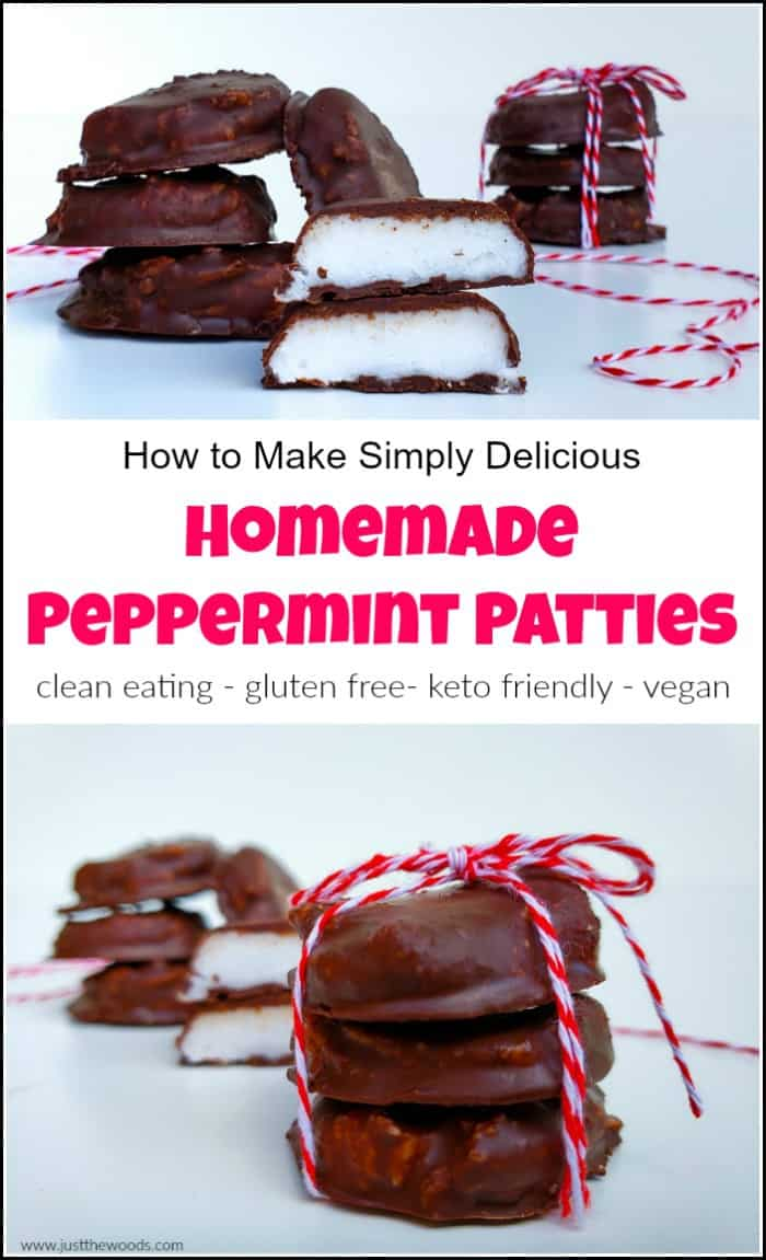 Homemade peppermint patties are the best when they fit into your healthy lifestyle without all that added sugar. This healthy peppermint patty recipe fits in with those following a clean eating lifestyle, a gluten-free diet and it's also keto friendly. When you are craving that peppermint patty candy but don't need the refined sugar these are a no-brainer. #homemadepeppermintpatties #peppermintpattyrecipe #christmastreatrecipes