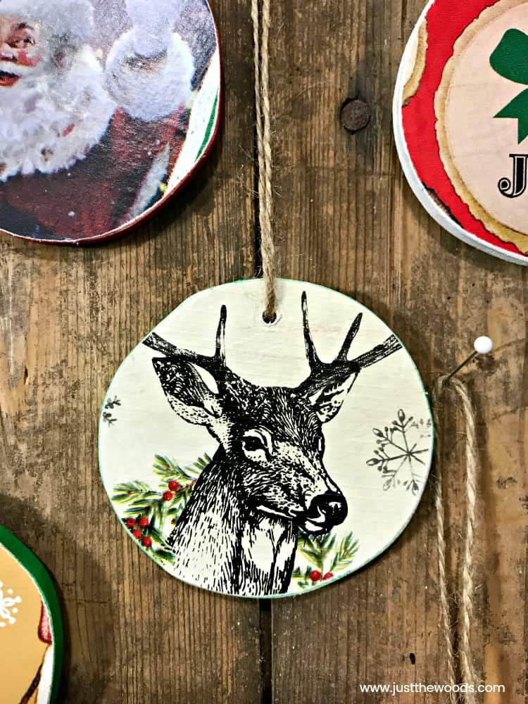 homemade christmas ornaments, santa ornaments, deer ornaments, rustic ornaments