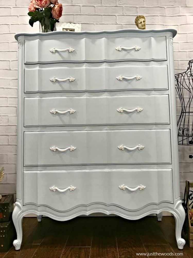 painted dresser, french provincial dresser, blue painted furniture, how to paint furniture, painted tall dresser