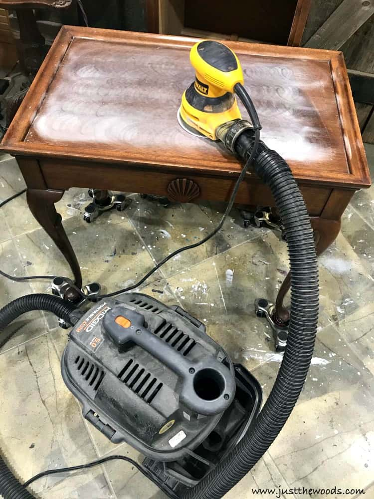 sanding inside, sand wood table, orbital sander, table makeover, dewalt sander, sand indoors