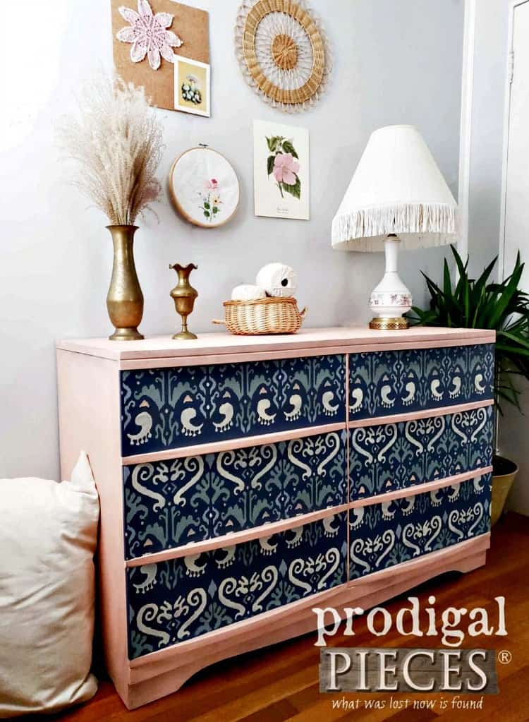 painted dresser ideas, mcm painted dresser, stenciled painted dresser