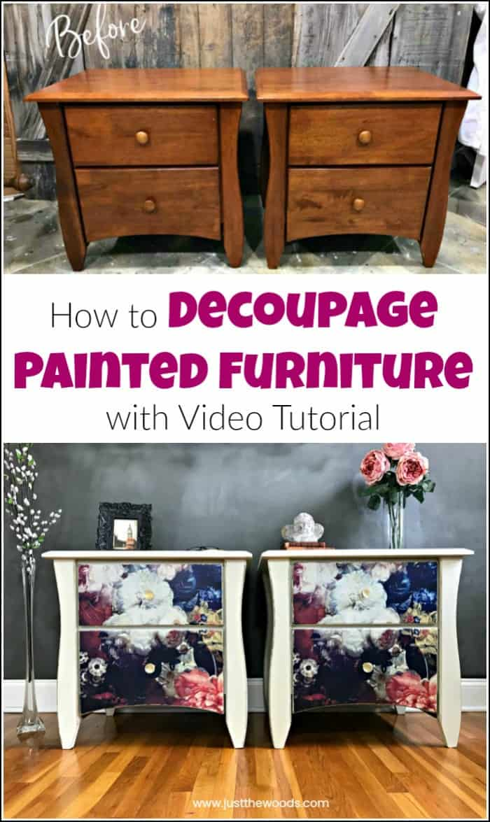 See how to add tissue to painted furniture with this decoupage furniture tutorial with video. Using mod podge glue and decoupage paper anything is possible. #decoupagefurniture #howtodecoupage #howtodecoupagefurniture #paintedfurniture #paintedfurnituredecoupage #howtopaintfurniture #modpodge
