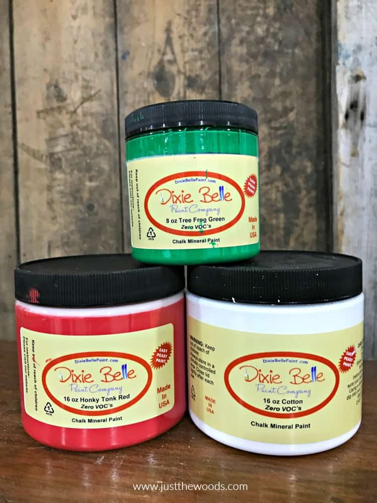 dixie belle paint, red green and white paint, chalk paint