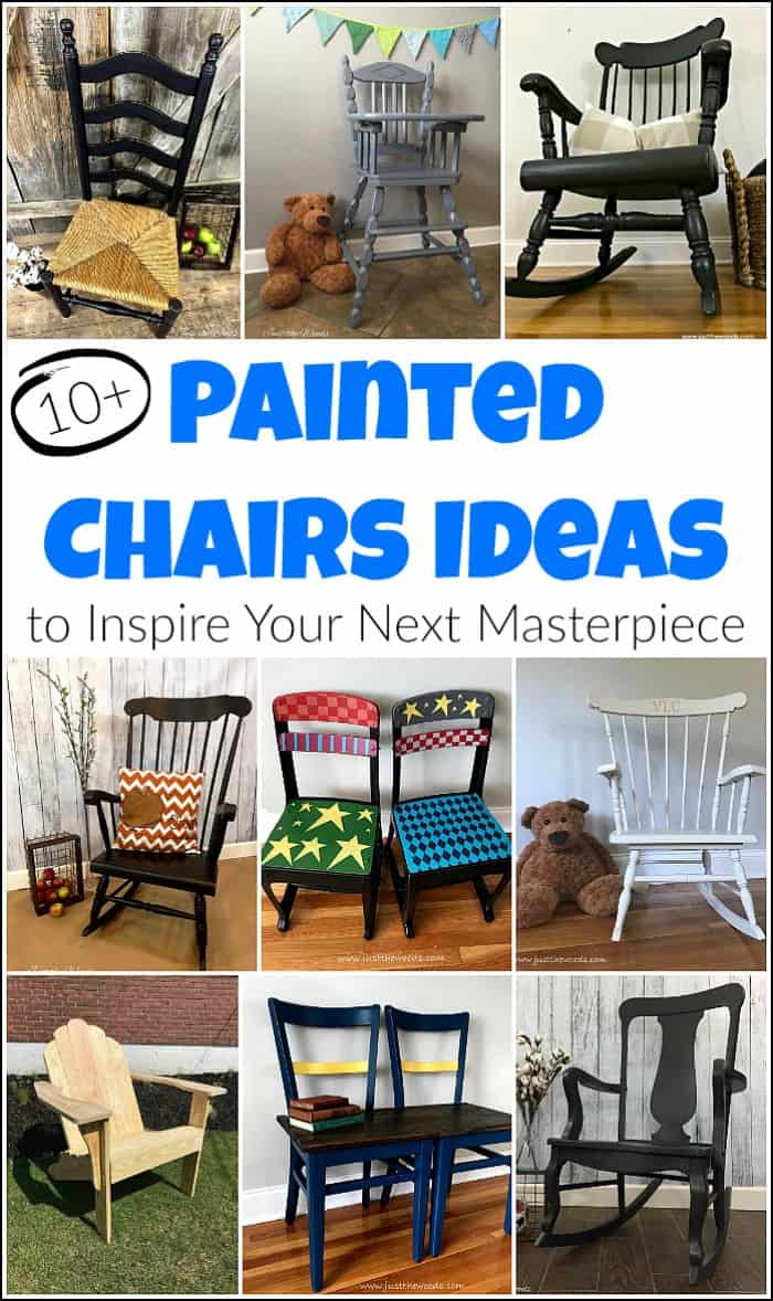 Painted chairs are an awesome way to update a space. Painted wooden chairs have their own kind of unique character that shouldn't go unnoticed. Whether you have an old ladder back chair or a rocking chair that's been in the family for years these painted chairs ideas will help you take your project to the next level. #paintedchairs #paintedchair #paintedchairsideas #paintedwoodenchairs #paintedadirondackchairs #paintedfabricchairs