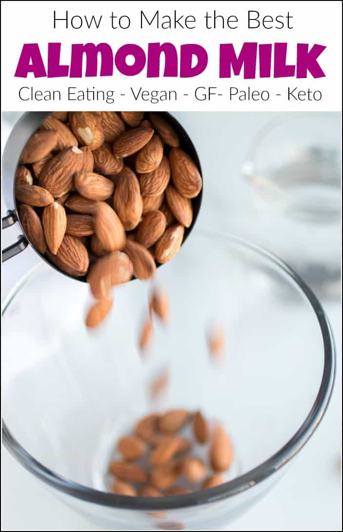 See how to make almond milk at home. Making almond milk is so easy with only 2 ingredients and healthier than anything you could buy in the store. #howtomakealmondmilk #homemadealmondmilk #makingalmondmilk #cleaneating #makeyourownalmondmilk
