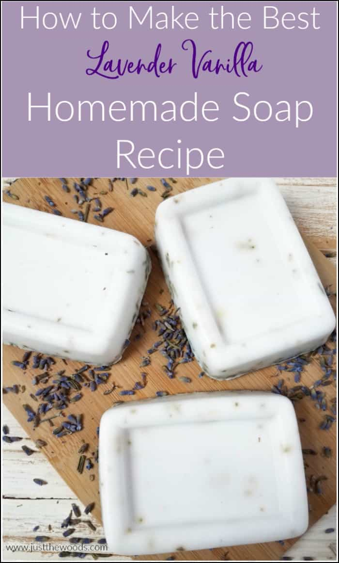 This homemade soap recipe is easy and smells amazing. See how to make your own soap at home without lye with this lavender vanilla DIY soap recipe. #homemadesoaprecipe #howtomakesoap #handmadesoap #soapmaking #makesoapwithoutlye #essentialoilsoap #homemadesoap