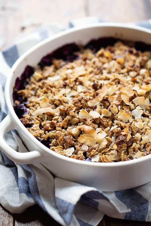 clean eating, blueberry crisp, healthy blueberry crisp