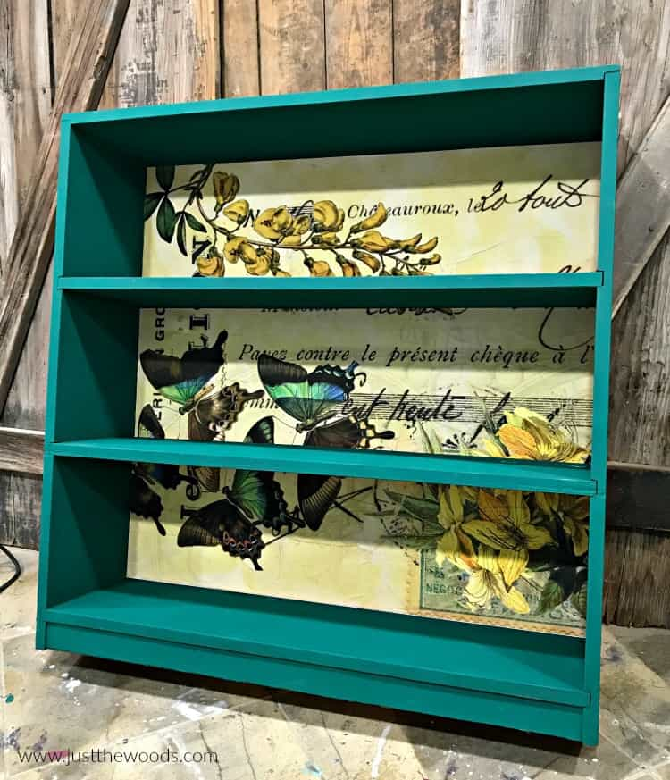 painted bookcase with decoupage back, painted furniture with paper back, decorative paper on painted furniture