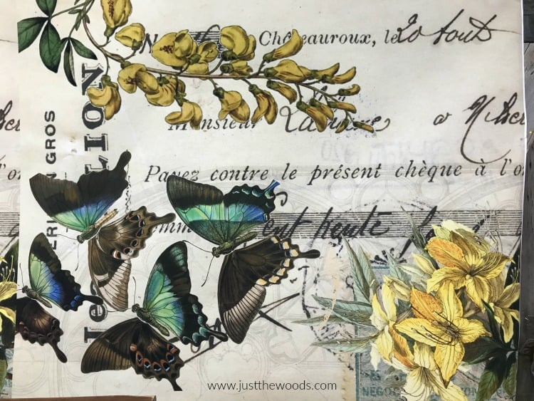 vintage butterfly paper, decoupage paper, paper for decoupage, decoupage on wood