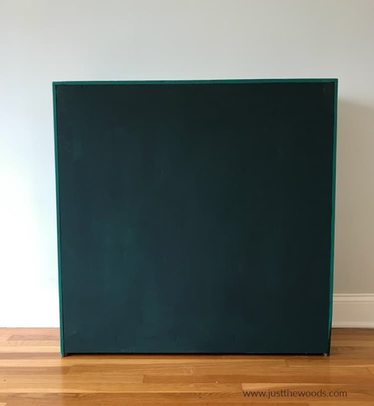 dark green painted bookcase, no prep, chalk paint no sanding, no prep chalk paint