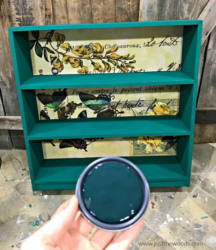 green chalk paint, how to add paper to chalk painted furniture, decoupage on wood, how to decoupage painted furniture
