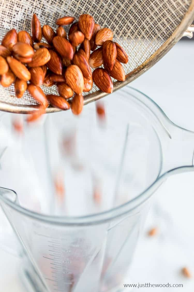 strain almonds, making almond milk, how to make almond milk