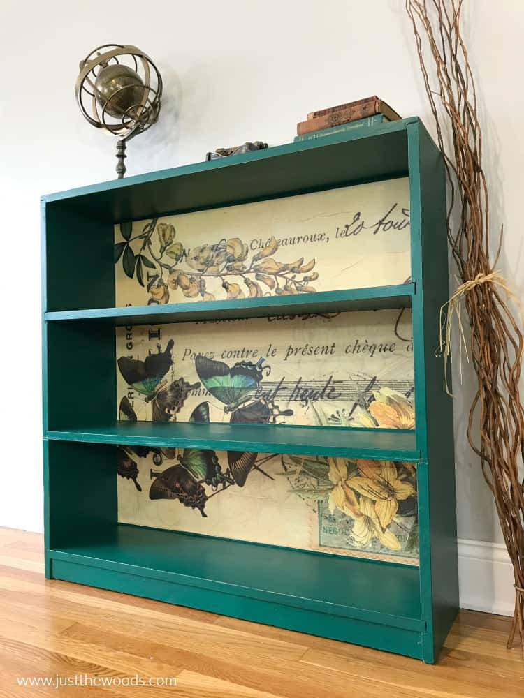 vintage print butterfly decoupage paper, how to decoupage painted furniture, painted bookcase