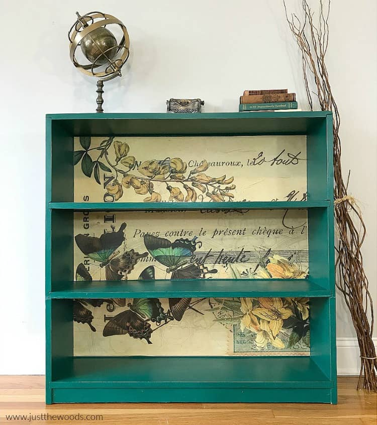 painted bookcase, green painted bookcase, decoupage paper on painted furniture