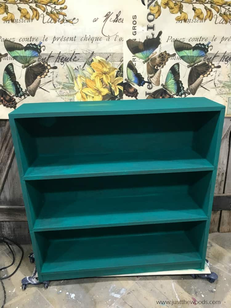 green painted furniture, green painted bookcase, painted bookcase