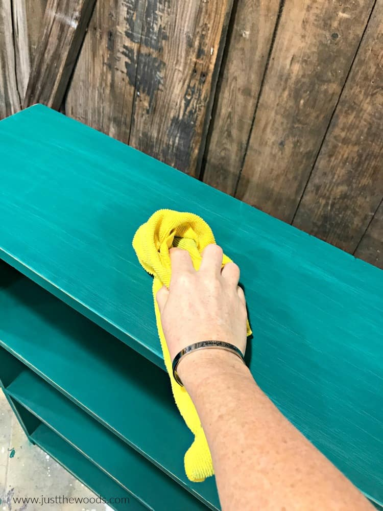 wipe painted furniture with lint free cloth, yellow cloth to remove dust