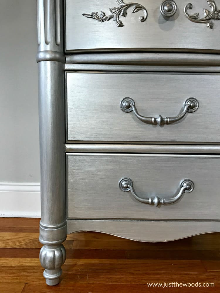 how to paint metallic furniture, metallic painted furniture, silver painted furniture