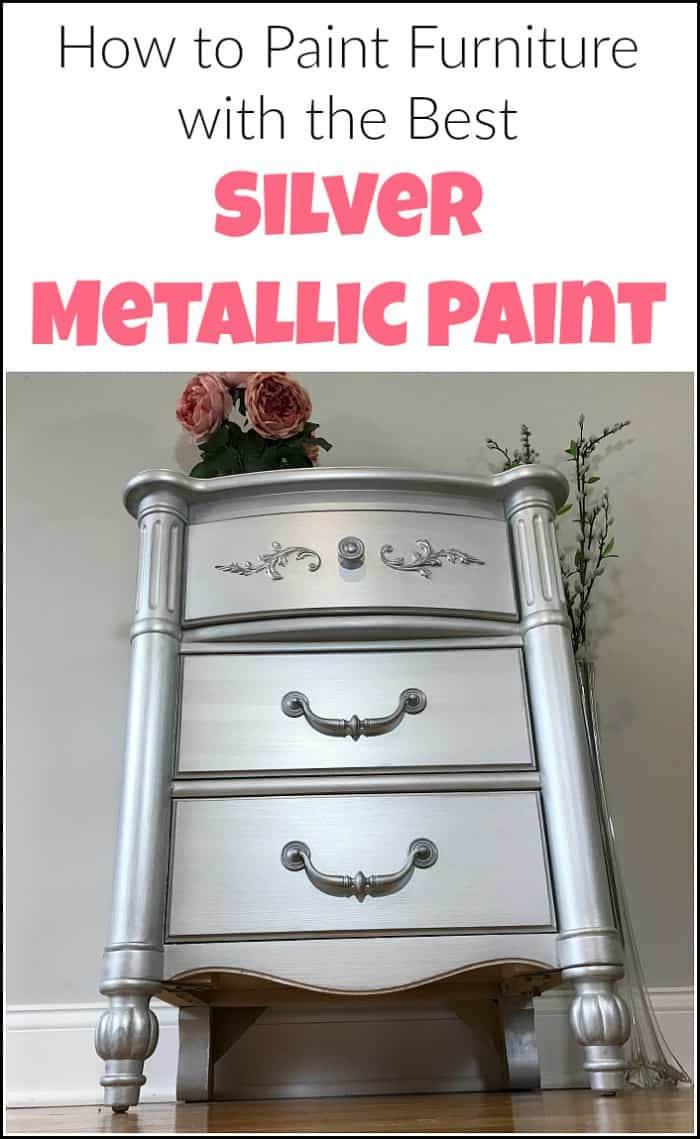 Silver metallic paint and glam seem to go hand in hand. Give your painted furniture a metallic painted makeover by adding metallic silver furniture paint. See a table transformed using metallic paint for furniture. #paintedfurniture #metallicpaint #silverpaint #metallicfurniturepaint #silvermetallicpaint