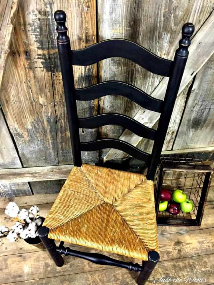 black distressed painted chair, chalk paint chairs, ladder back chair