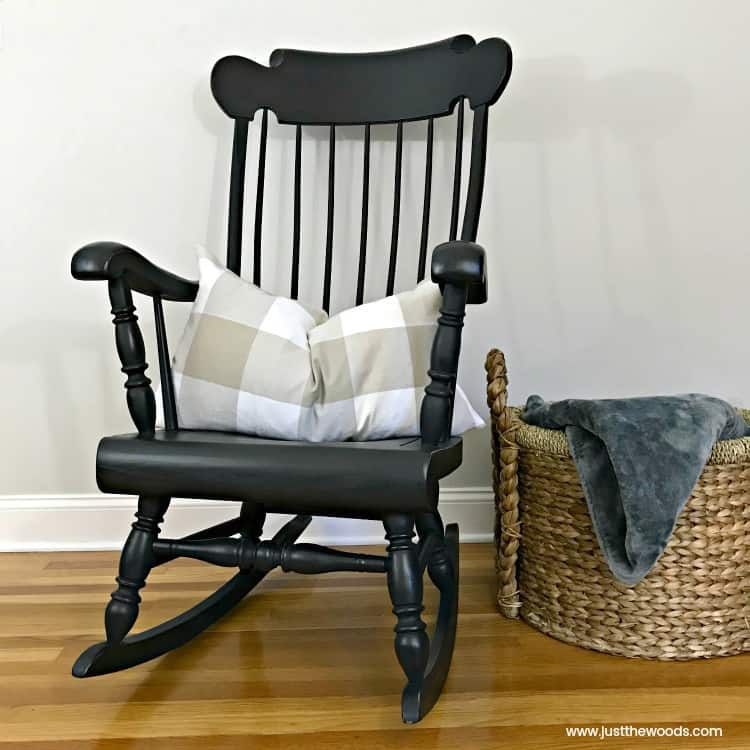 painted chairs, painted rocking chair, black painted chair, painted rocking chair with spindles