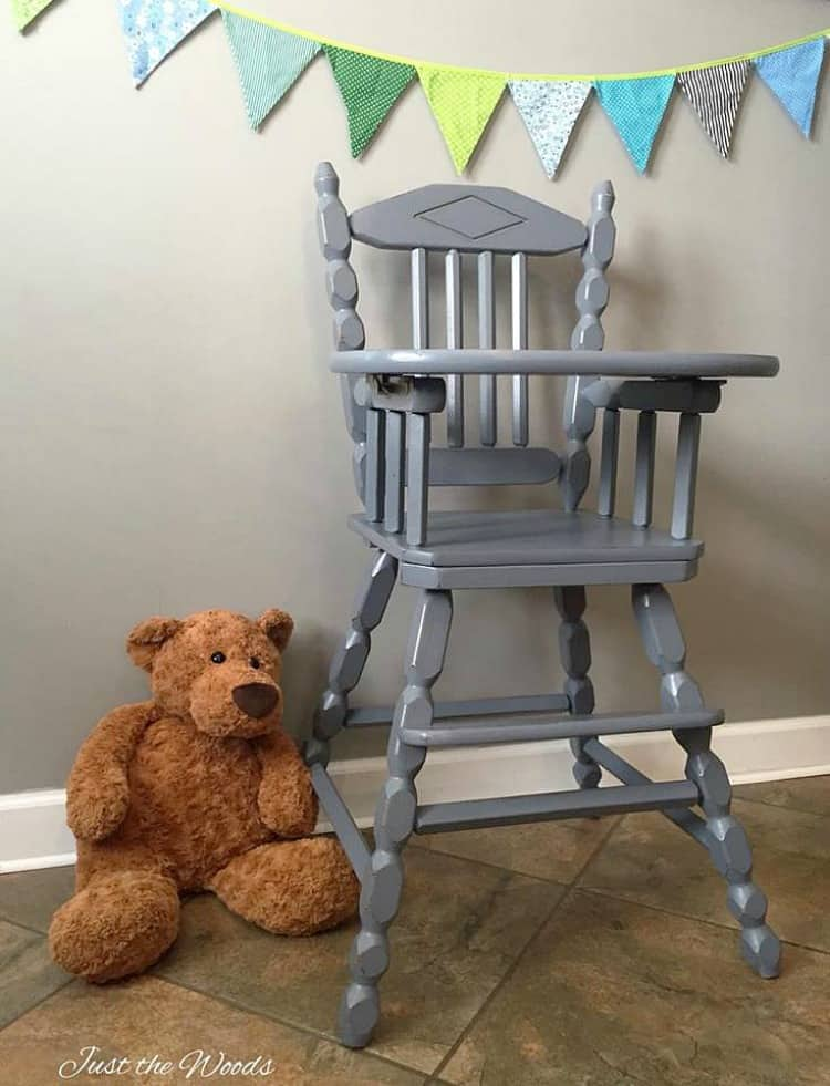 painted wooden chair, painted high chair, painted vintage high chair