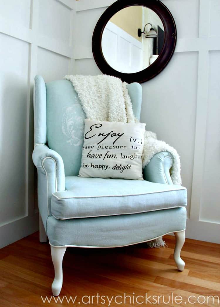 painting fabric chairs, painted fabric chair, chalk paint chair