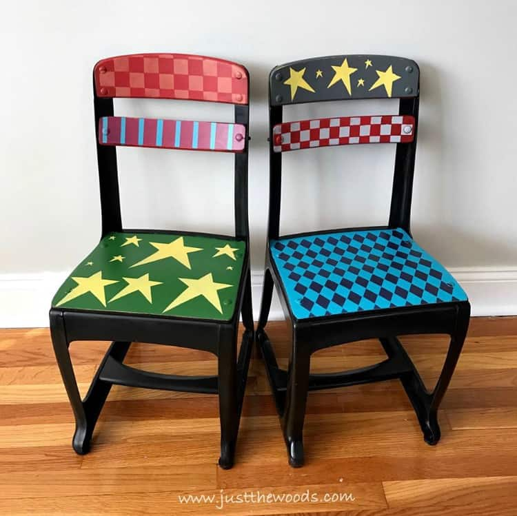 whimsical painted chairs, colorful painted chairs, metal painted chairs