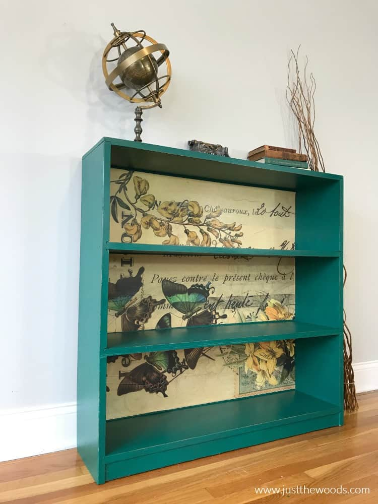 decoupage paper, how to decoupage painted furniture, butterfly paper on painted bookcase