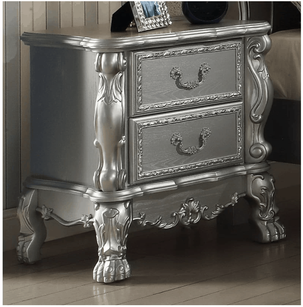 metallic silver nightstand, silver metallic furniture