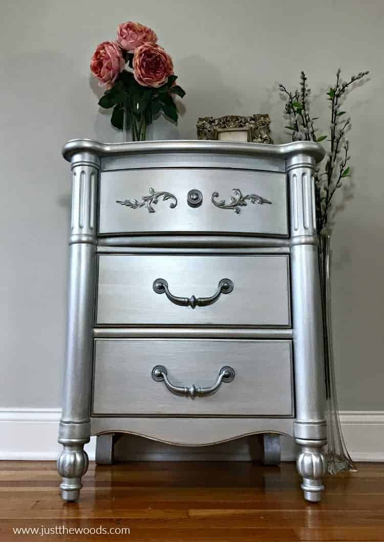 painted furniture before and after, silver metallic paint, metallic furniture paint