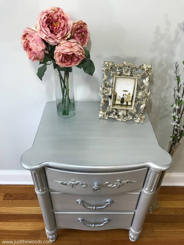 silver metallic paint, metallic silver paint, painted furniture, metallic painted furniture