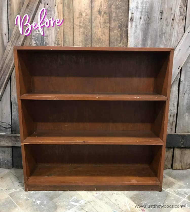wooden bookcase, painting a bookcase, how to add paper on the back of a bookcase, decoupage on wood bookcase