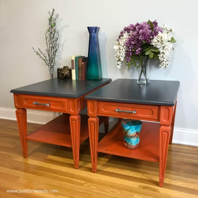 painted end tables, orange painted furniture, orange painted tables, furniture paint, repaint painted furniture