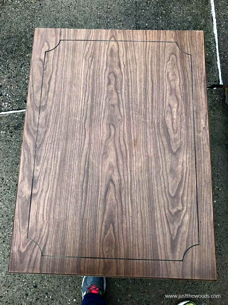 vintage wood tables, paint over stain, faux wood grain