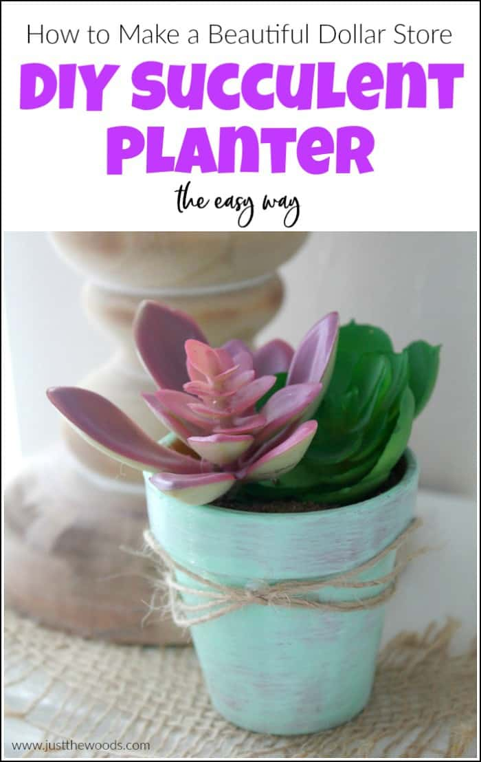 Make a beautiful DIY succulent planter the easy way. This Dollar Store craft will show you how to make DIY succulent planters with faux succulents. #diysucculentplanter #succulentplanterideas #dollarstorecraft #dollarstoreprojects #fauxsucculents #diysucculents
