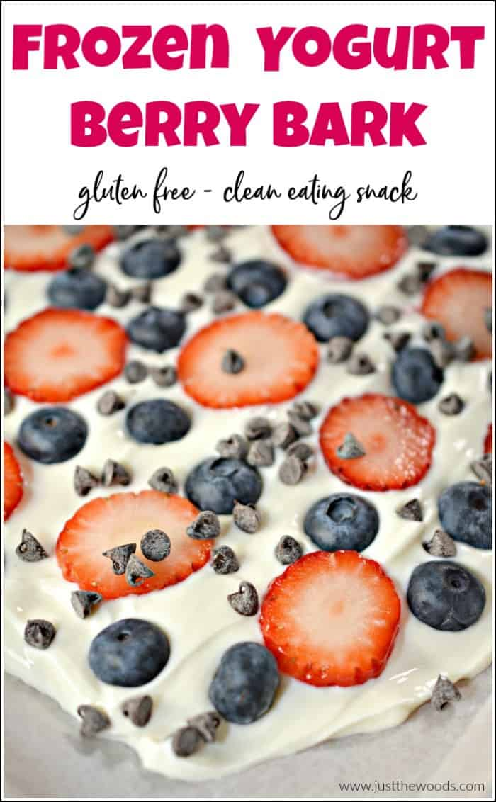 Yogurt bark is a quick and healthy treat that you will love. Made with sweet berries and greek yogurt you can't go wrong with this clean eating snack. Greek yogurt dessert recipe for frozen yogurt bark with fruit and chocolate will have you begging for more. #cleaneatingsnacks #yogurtbark #greekyogurtrecipes #frozenyogurtbark