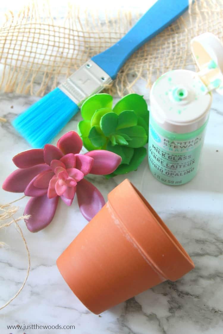 diy planter, small planter, succulent pot, craft paint, faux succulents