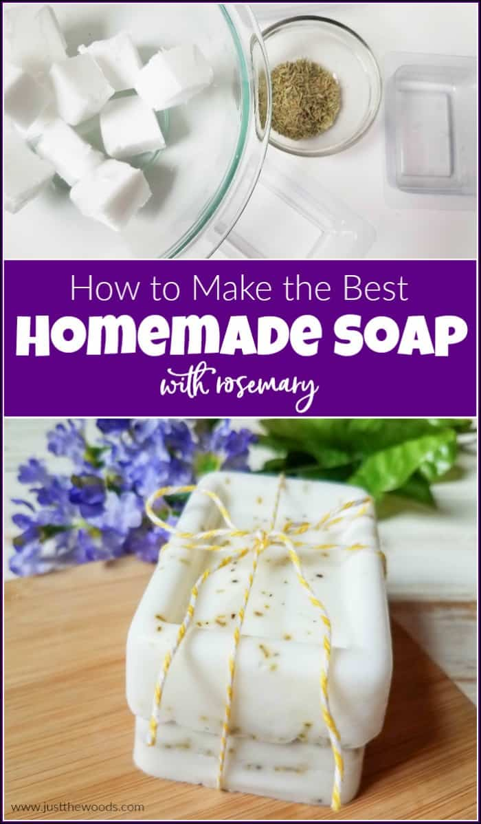 Homemade soap is fun and easy. Soap making isn't complicated since you can easily make your own soap without lye. Homemade bar soap makes great gifts too. Make your own DIY soap with rosemary. #howtomakesoap #makeyourownsoap #soapmaking #howtomakesoapwithoutlye | how to make soap without lye | make soap at home | make natural soap