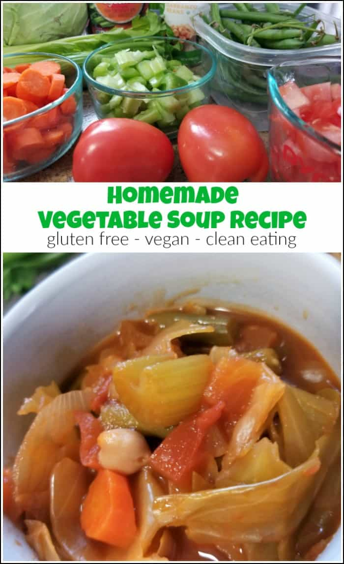 Homemade vegetable soup with cabbage. You will love this healthy vegetable soup recipe. It is gluten free, vegan and a clean eating soup recipe too. #homemadevegetablesoup #easyvegetablesoup #healthyvegetablesoup #vegetablesouprecipes | tomato and vegetable soup | vegetable soup with cabbage |