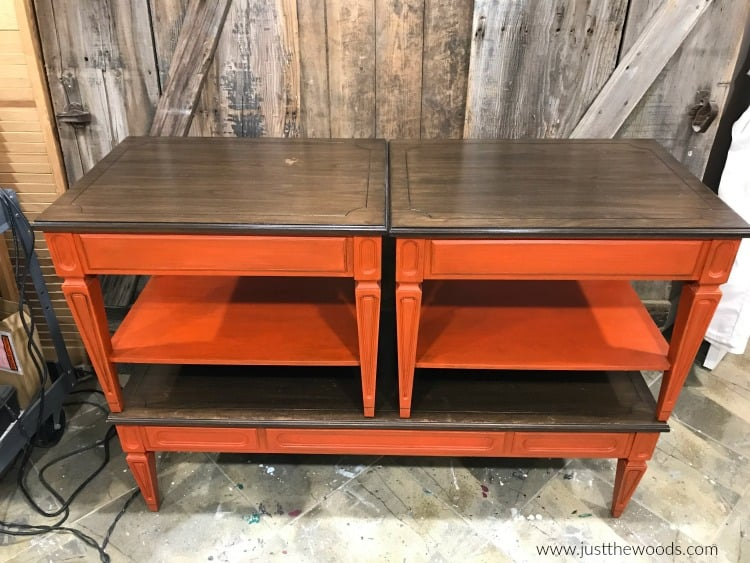 orange painted tables, brown stain on painted tables, painted end tables, repainting furniture