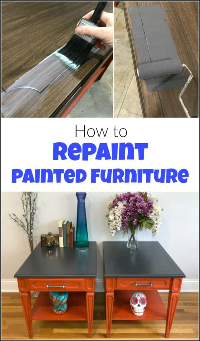 Repainting furniture is something that we avoid if possible. But when you repaint furniture or even paint over stain you need to use this furniture paint for amazing results. See how to repaint furniture with fast-drying furniture paint that works great for painting over stained wood. #repaintingfurniture #howtorepaintfurniture #paintoverstain #furniturepaint #paintedfurniture #canyoupaintoverstain