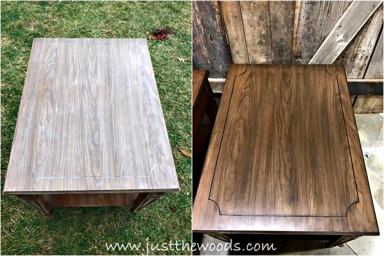 stain over laminate, faux wood grain, vintage tables, brown table tops