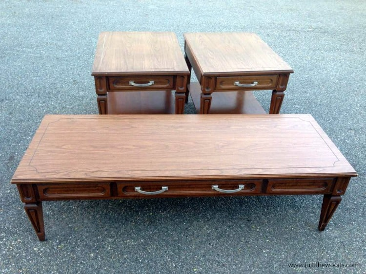 vintage mersman tables, brown wood tables, coffee and end tables