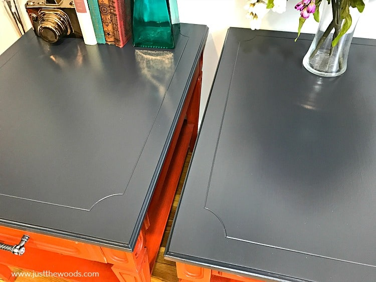 painted end tables, gray furniture paint, repaint painted furniture, repainting furniture, how to paint over stain, painting over stain
