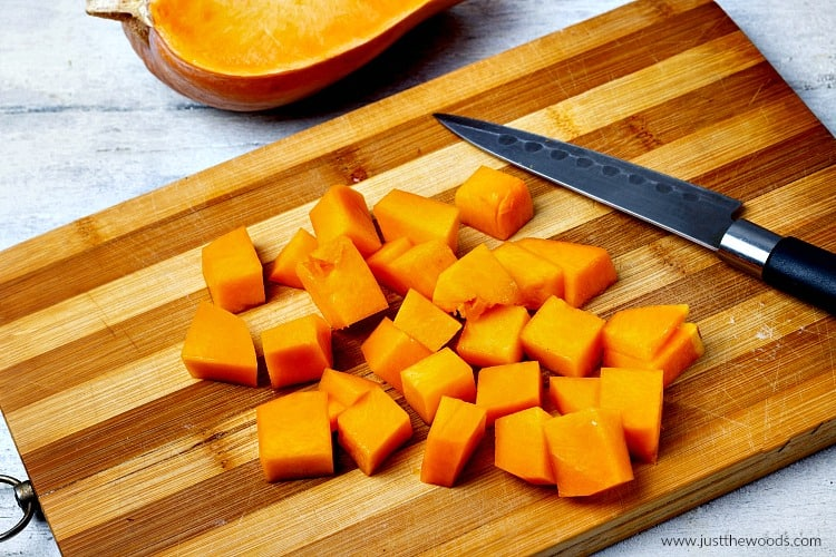 cut up squash, butternut squash, salad with squash, roasted squash salad