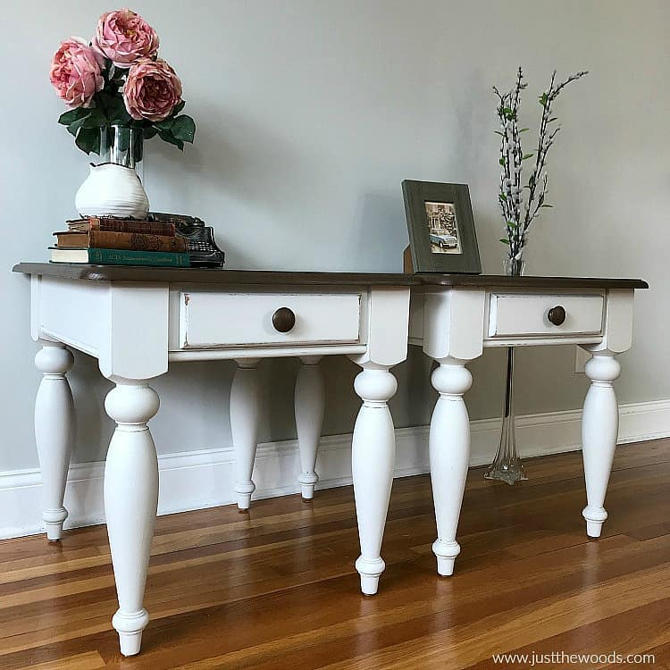 distressed white furniture with wood stain, stained tables with painted legs