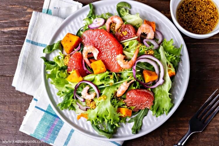 salad recipe with shrimp and grapefruit, salad recipes, arugula salad with shrimp and grapefruit
