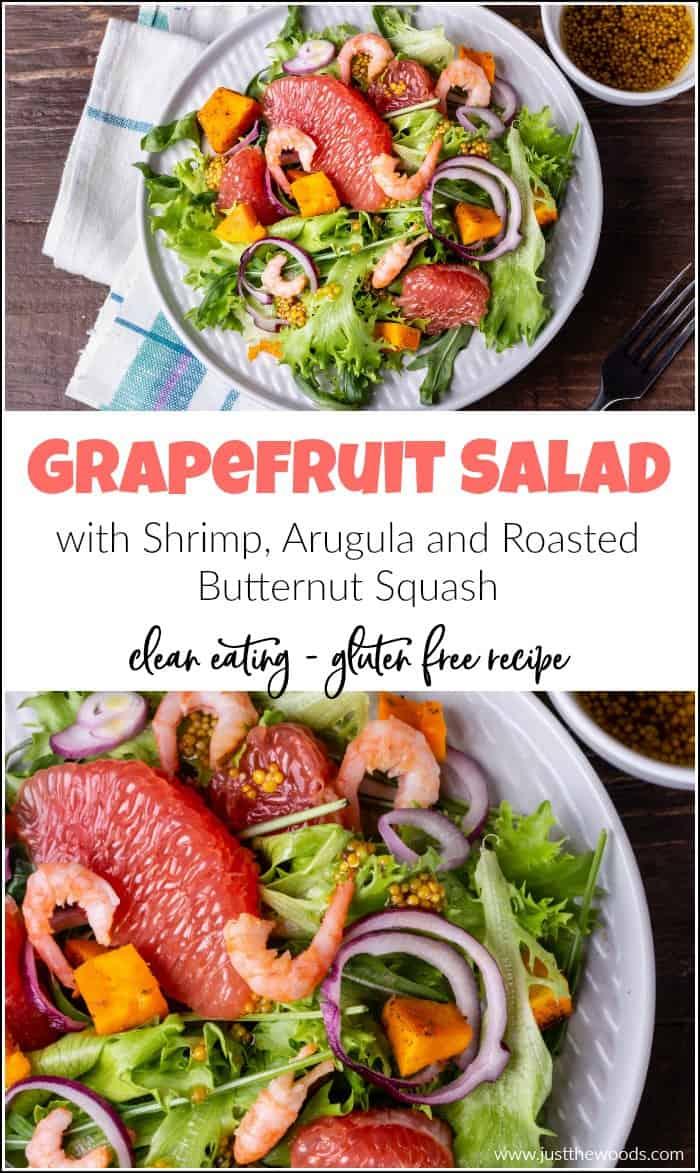 This healthy grapefruit salad recipe combines the perfect variety of healthy ingredients. Greens, arugula, shrimp, cucumber and butternut squash. #healthysaladrecipes #grapefruitsalad #colorfulsalad #saladrecipes #shrimpsalad #arugulasalad