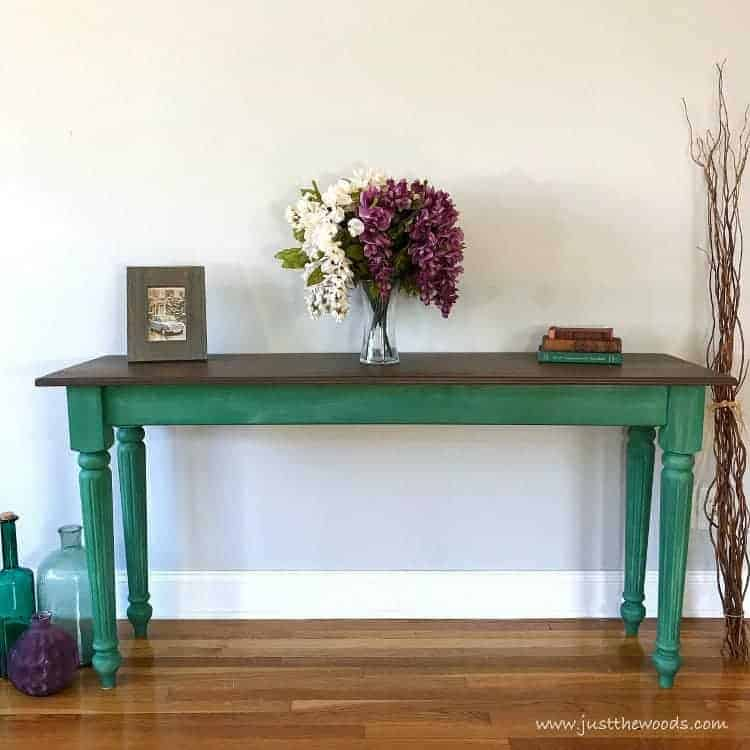 green furniture, green table, green painted furniture, painted green furniture, green table with brown stain top