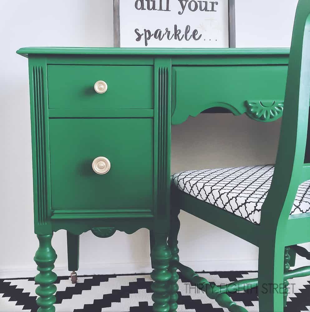 emerald green desk, green desk, green painted desk